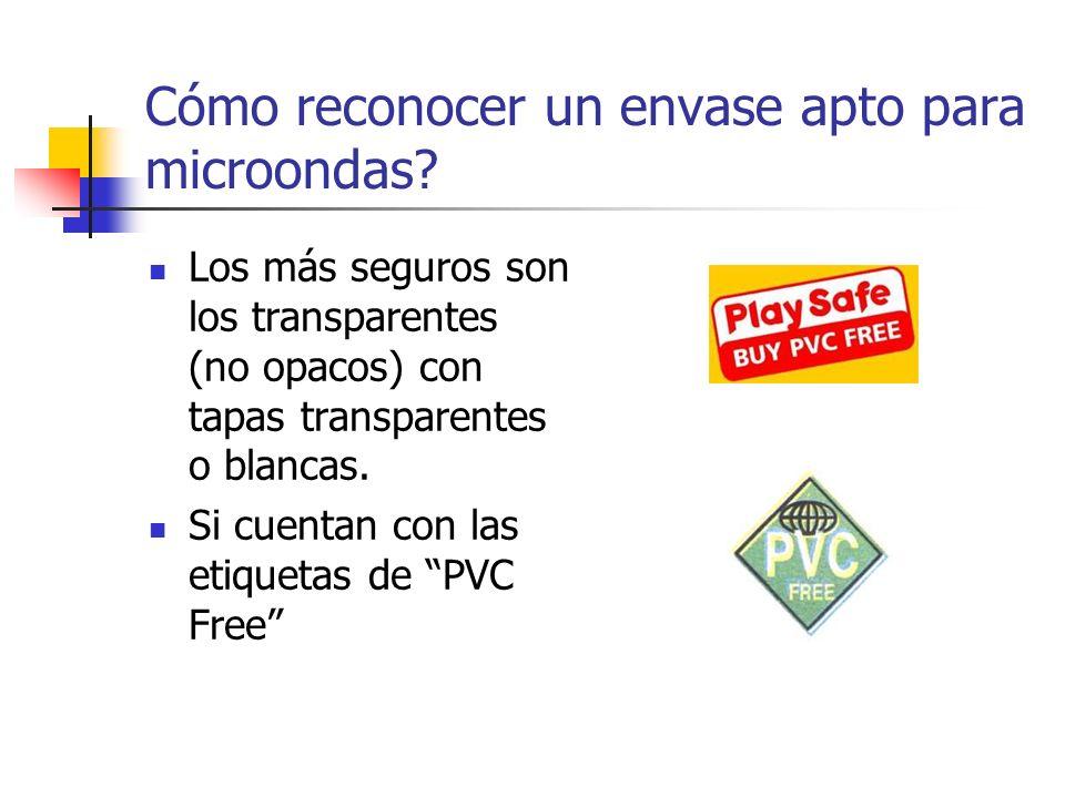 Cómo reconocer un envase apto para microondas? Los más seguros son los transparentes (no opacos) con tapas transparentes o blancas. Si cuentan con las