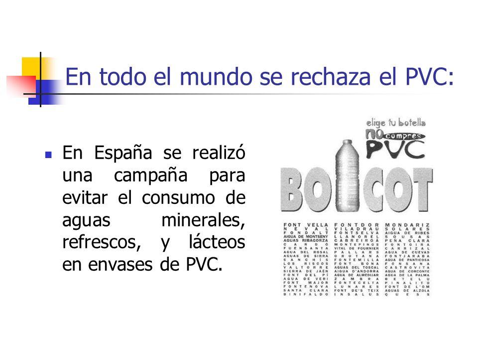 En todo el mundo se rechaza el PVC: En España se realizó una campaña para evitar el consumo de aguas minerales, refrescos, y lácteos en envases de PVC
