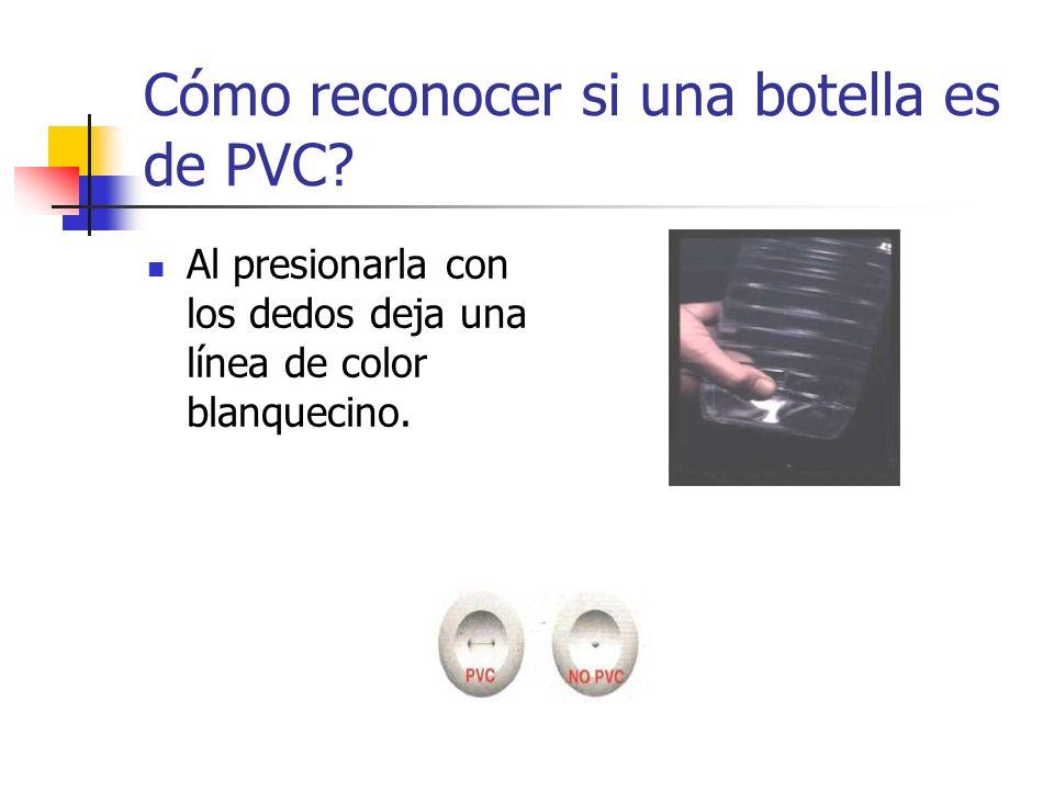 Cómo reconocer si una botella es de PVC? Al presionarla con los dedos deja una línea de color blanquecino.