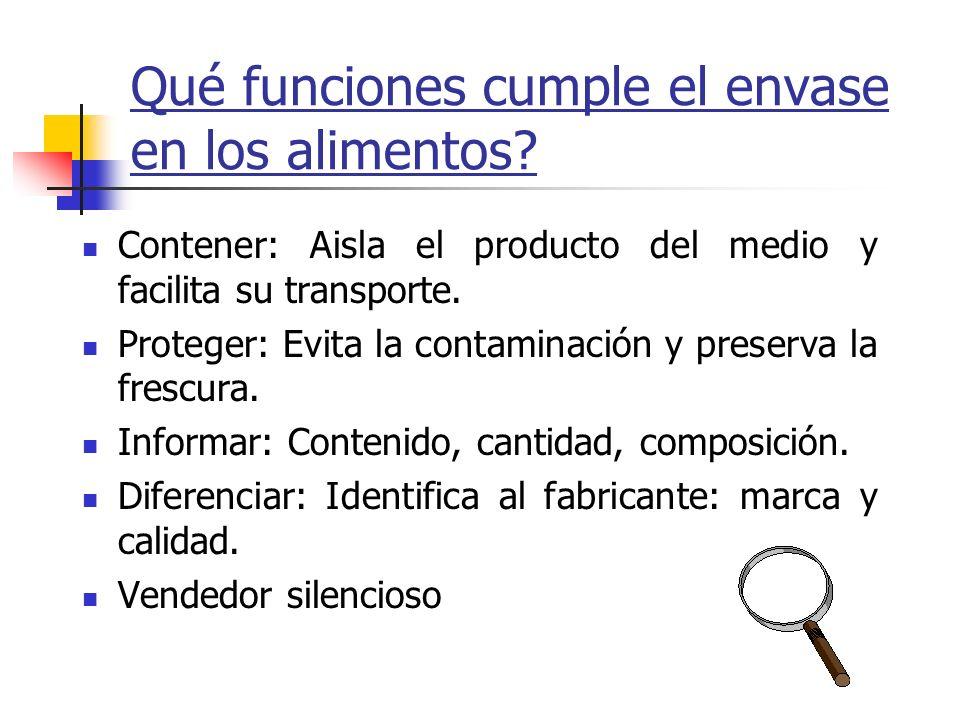 Qué funciones cumple el envase en los alimentos? Contener: Aisla el producto del medio y facilita su transporte. Proteger: Evita la contaminación y pr