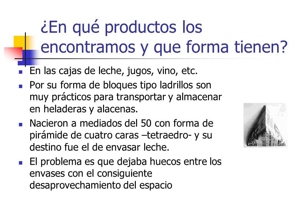 ¿En qué productos los encontramos y que forma tienen? En las cajas de leche, jugos, vino, etc. Por su forma de bloques tipo ladrillos son muy práctico
