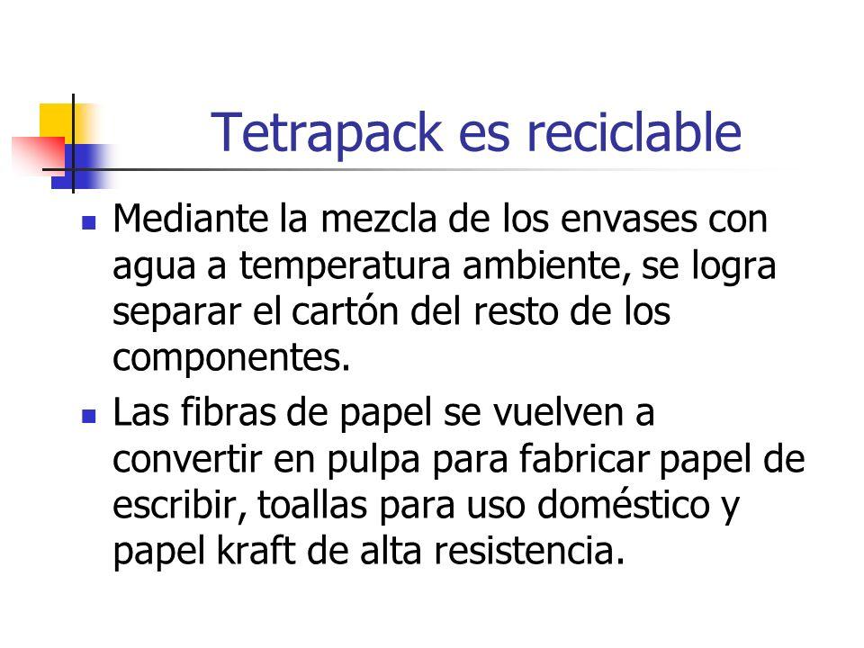 Tetrapack es reciclable Mediante la mezcla de los envases con agua a temperatura ambiente, se logra separar el cartón del resto de los componentes. La