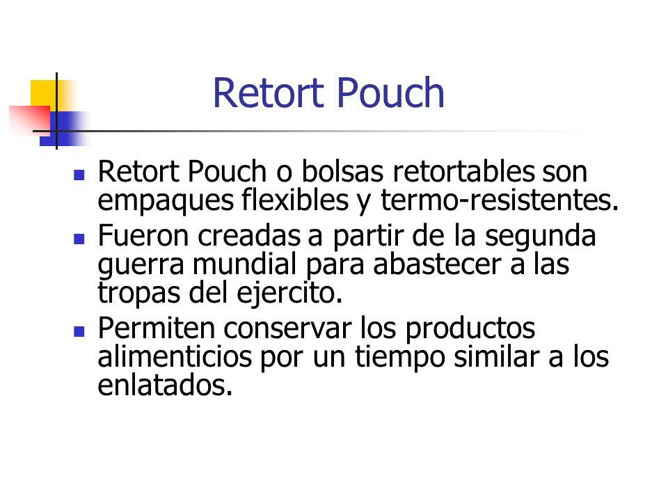 Retort Pouch Retort Pouch o bolsas retortables son empaques flexibles y termo-resistentes. Fueron creadas a partir de la segunda guerra mundial para a