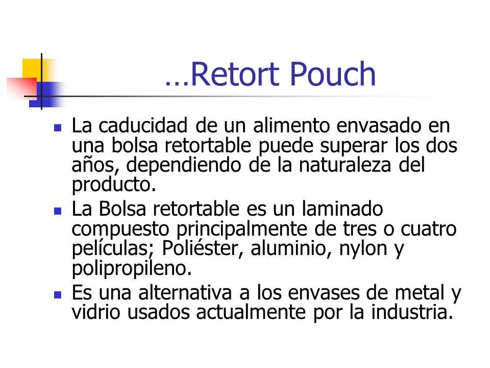 …Retort Pouch La caducidad de un alimento envasado en una bolsa retortable puede superar los dos años, dependiendo de la naturaleza del producto. La B