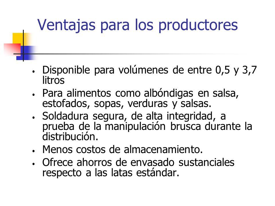 Ventajas para los productores Disponible para volúmenes de entre 0,5 y 3,7 litros Para alimentos como albóndigas en salsa, estofados, sopas, verduras