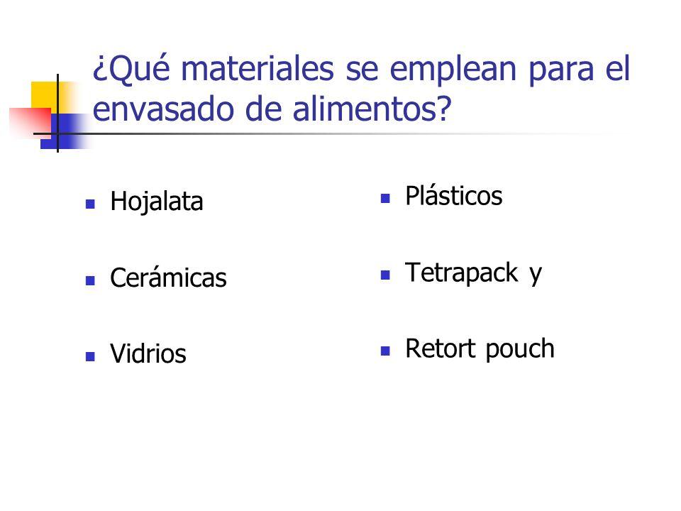 ¿Qué materiales se emplean para el envasado de alimentos? Hojalata Cerámicas Vidrios Plásticos Tetrapack y Retort pouch