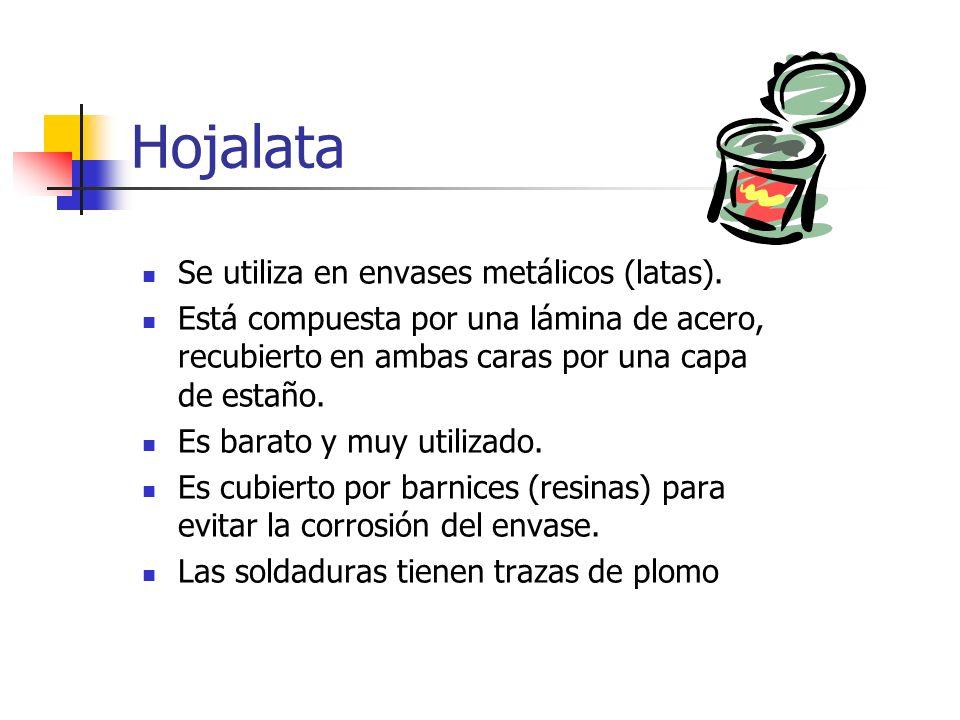 Hojalata Se utiliza en envases metálicos (latas). Está compuesta por una lámina de acero, recubierto en ambas caras por una capa de estaño. Es barato