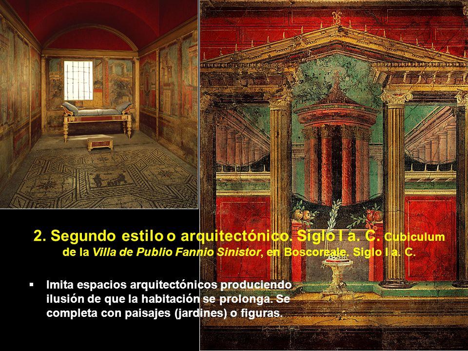 Imita espacios arquitectónicos produciendo ilusión de que la habitación se prolonga. Se completa con paisajes (jardines) o figuras. 2. Segundo estilo