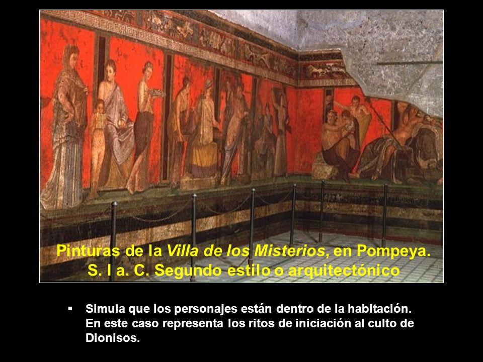 Simula que los personajes están dentro de la habitación. En este caso representa los ritos de iniciación al culto de Dionisos. Pinturas de la Villa de