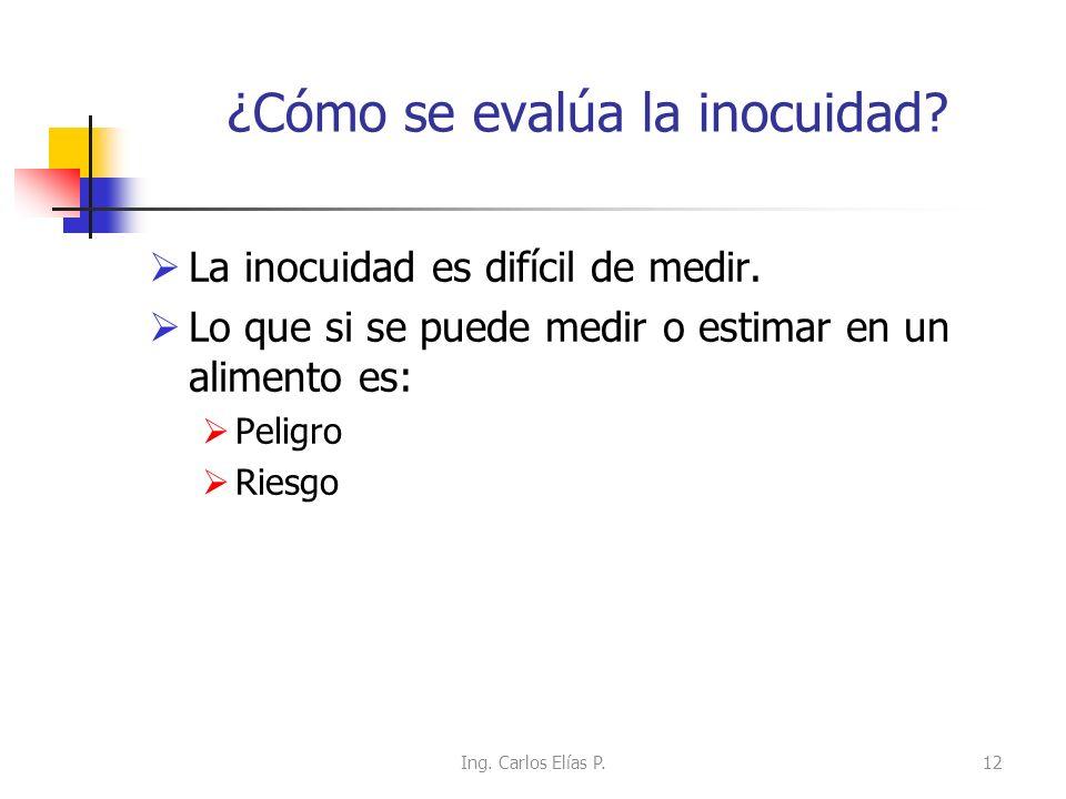 ¿Cómo se evalúa la inocuidad? La inocuidad es difícil de medir. Lo que si se puede medir o estimar en un alimento es: Peligro Riesgo 12Ing. Carlos Elí