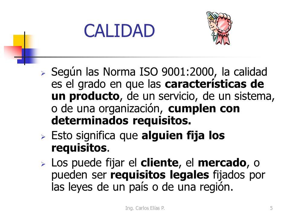 CALIDAD Según las Norma ISO 9001:2000, la calidad es el grado en que las características de un producto, de un servicio, de un sistema, o de una organ