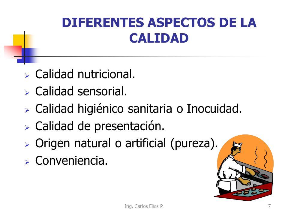 DIFERENTES ASPECTOS DE LA CALIDAD Calidad nutricional. Calidad sensorial. Calidad higiénico sanitaria o Inocuidad. Calidad de presentación. Origen nat