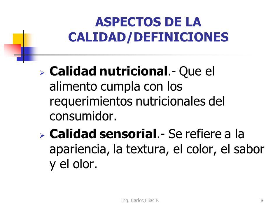 ASPECTOS DE LA CALIDAD/DEFINICIONES Calidad nutricional.- Que el alimento cumpla con los requerimientos nutricionales del consumidor. Calidad sensoria