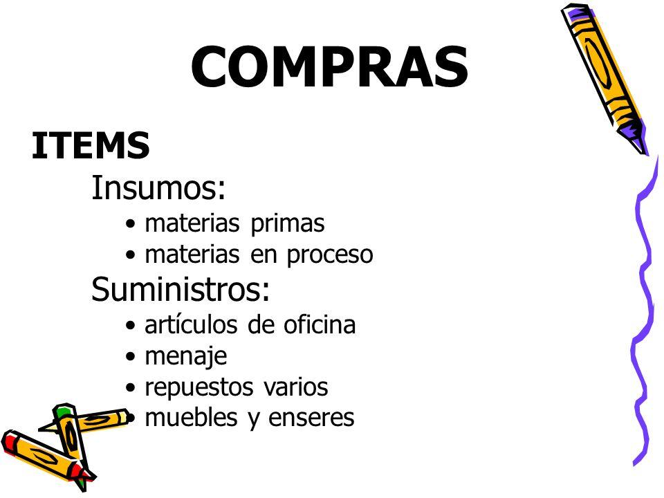 ITEMS Insumos: materias primas materias en proceso Suministros: artículos de oficina menaje repuestos varios muebles y enseres COMPRAS