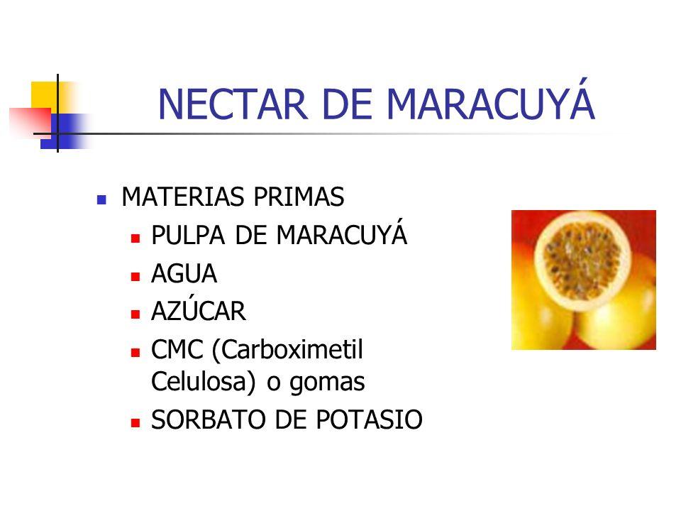 NECTAR DE MARACUYÁ MATERIAS PRIMAS PULPA DE MARACUYÁ AGUA AZÚCAR CMC (Carboximetil Celulosa) o gomas SORBATO DE POTASIO