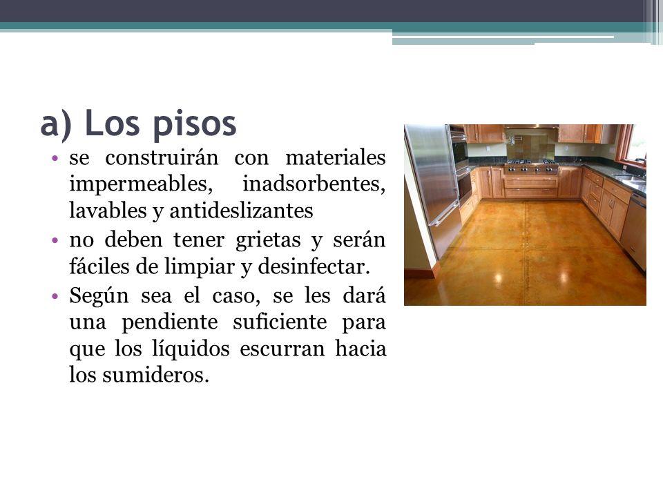 b) Las paredes De materiales impermeables, inadsorbentes y lavables y serán de color claro.