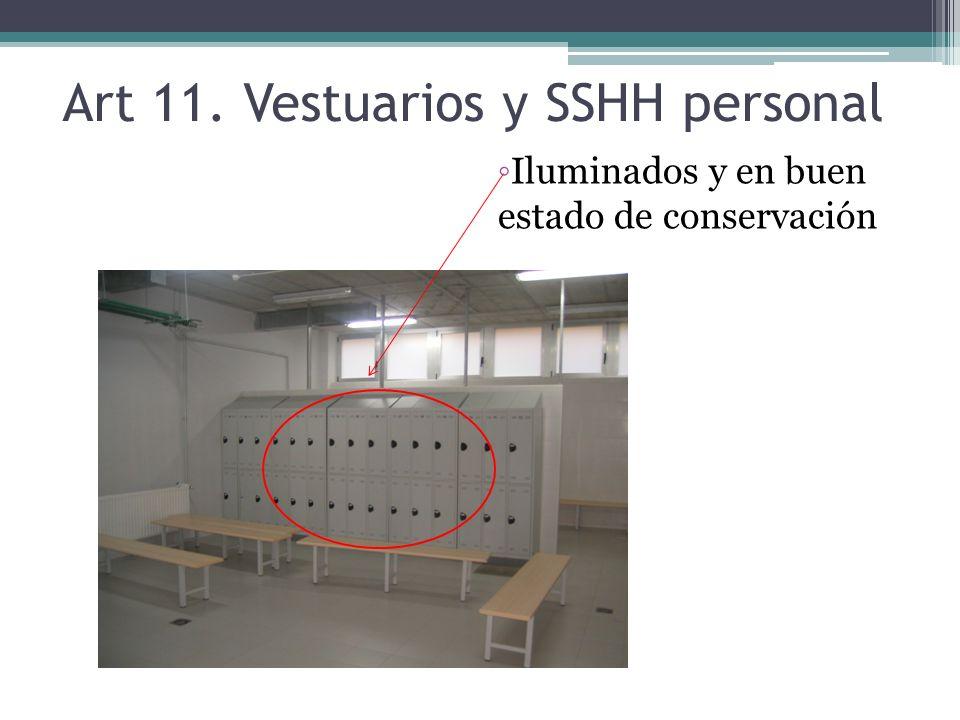 SSHH Fuera del área de manipulación Puerta No a la cocina ni al almacén Con iluminación y ventilación Material de fácil limpieza y desinfección No acceso a cocina o almacén