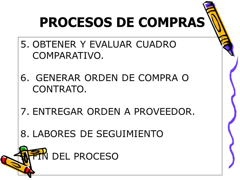 PROCESOS DE COMPRAS 5.OBTENER Y EVALUAR CUADRO COMPARATIVO. 6. GENERAR ORDEN DE COMPRA O CONTRATO. 7.ENTREGAR ORDEN A PROVEEDOR. 8.LABORES DE SEGUIMIE