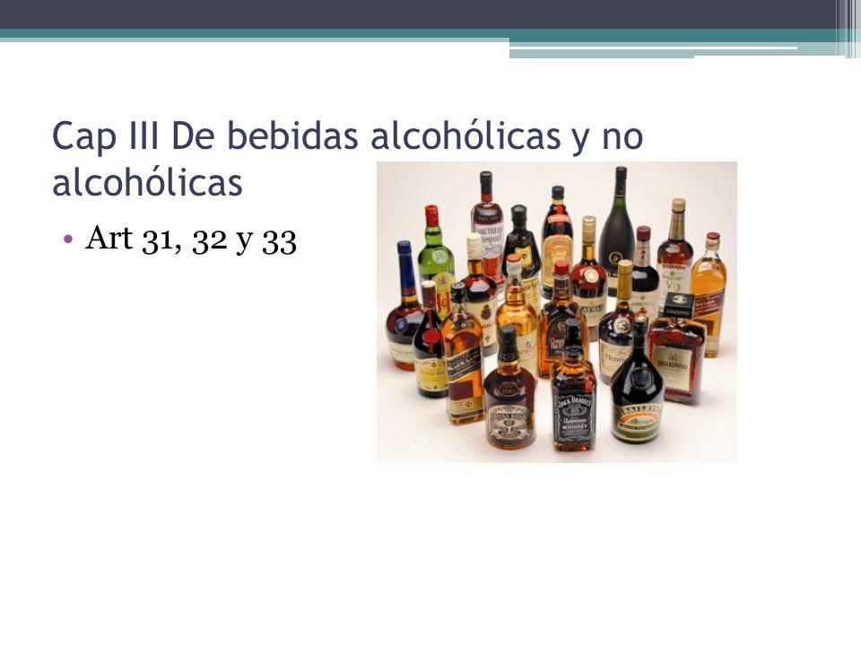 Cap III De bebidas alcohólicas y no alcohólicas Art 31, 32 y 33