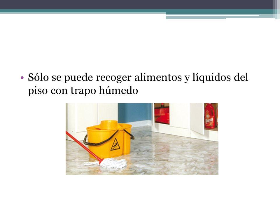 Sólo se puede recoger alimentos y líquidos del piso con trapo húmedo