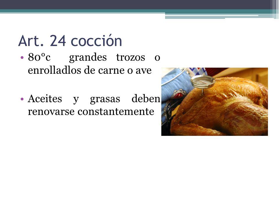 Art. 24 cocción 80°c grandes trozos o enrolladlos de carne o ave Aceites y grasas deben renovarse constantemente