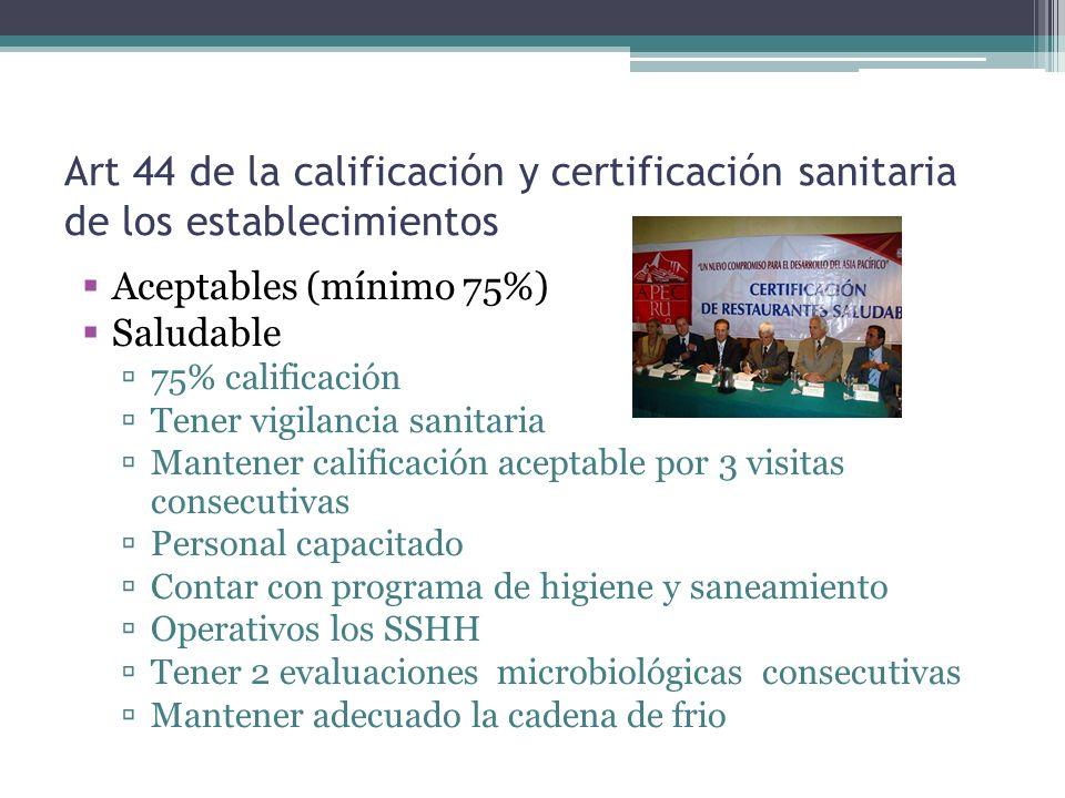 Art 44 de la calificación y certificación sanitaria de los establecimientos Aceptables (mínimo 75%) Saludable 75% calificación Tener vigilancia sanita