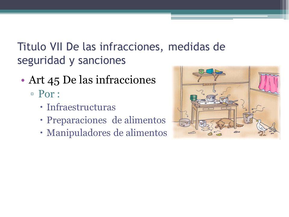 Titulo VII De las infracciones, medidas de seguridad y sanciones Art 45 De las infracciones Por : Infraestructuras Preparaciones de alimentos Manipula
