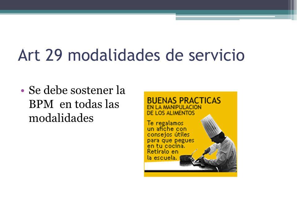 Art 29 modalidades de servicio Se debe sostener la BPM en todas las modalidades