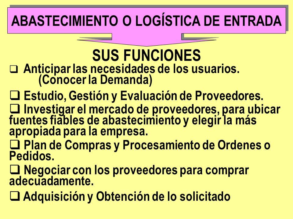 FACTORES A TENER EN CUENTA EN EL ABASTECIMIENTO 1.