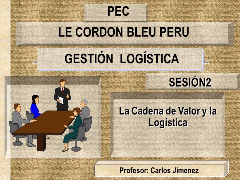 GESTIÓN LOGÍSTICA La Cadena de Valor y la Logística SESIÓN2 Profesor: Carlos Jimenez LE CORDON BLEU PERU PEC