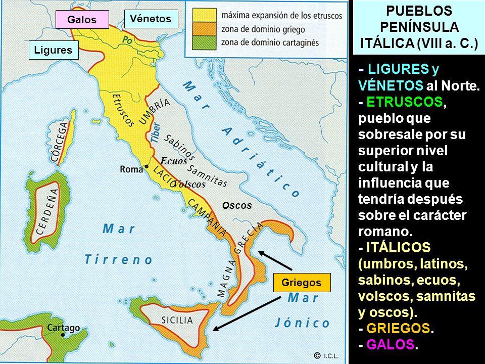 PUEBLOS PENÍNSULA ITÁLICA (VIII a. C.) - - - LIGURES y VÉNETOS al Norte. - ETRUSCOS, pueblo que sobresale por su superior nivel cultural y la influenc
