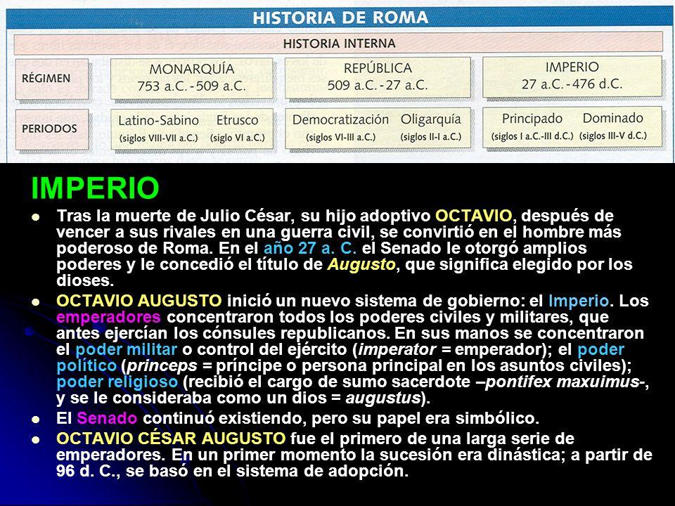 IMPERIO Tras la muerte de Julio César, su hijo adoptivo OCTAVIO, después de vencer a sus rivales en una guerra civil, se convirtió en el hombre más po