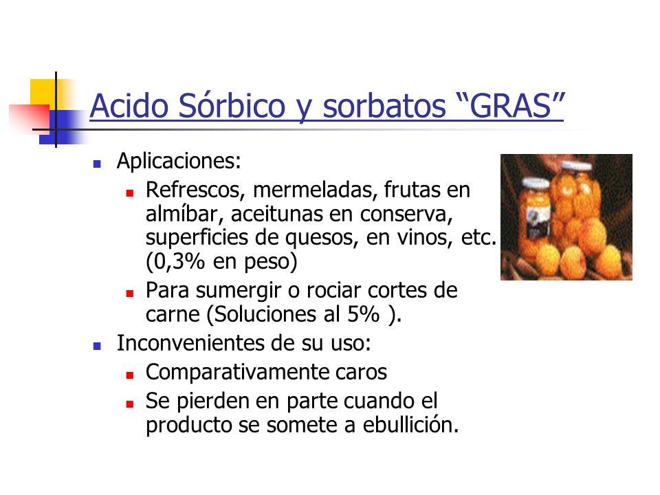 Acido Sórbico y sorbatos GRAS Aplicaciones: Refrescos, mermeladas, frutas en almíbar, aceitunas en conserva, superficies de quesos, en vinos, etc. (0,