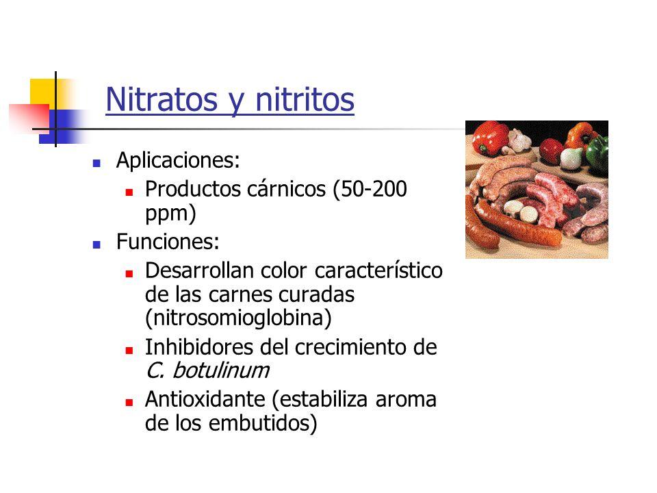 Nitratos y nitritos Aplicaciones: Productos cárnicos (50-200 ppm) Funciones: Desarrollan color característico de las carnes curadas (nitrosomioglobina