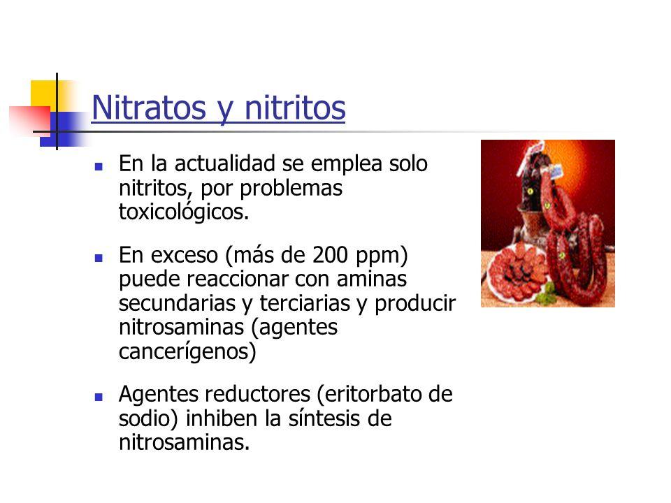 Nitratos y nitritos En la actualidad se emplea solo nitritos, por problemas toxicológicos. En exceso (más de 200 ppm) puede reaccionar con aminas secu