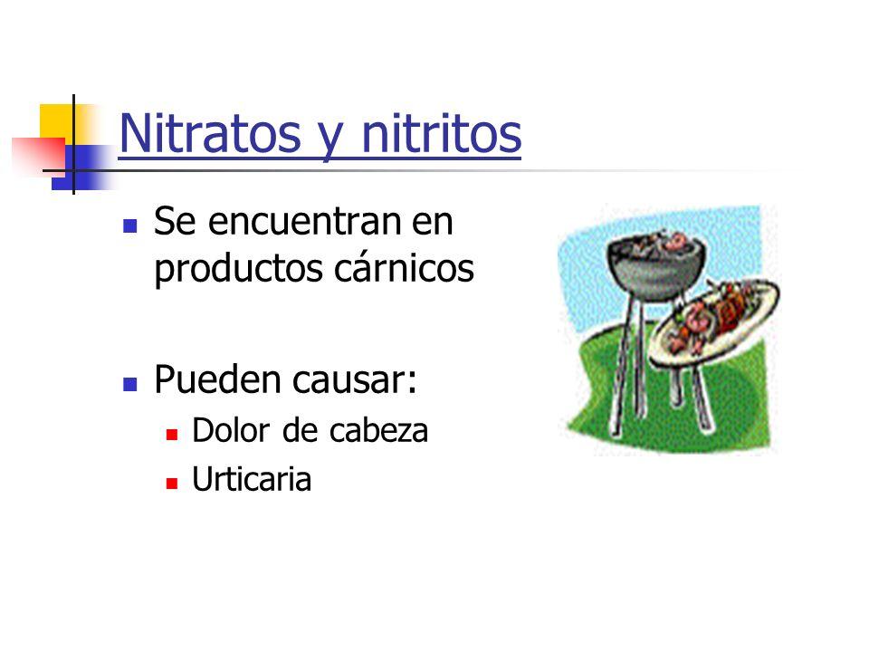 Nitratos y nitritos Se encuentran en productos cárnicos Pueden causar: Dolor de cabeza Urticaria