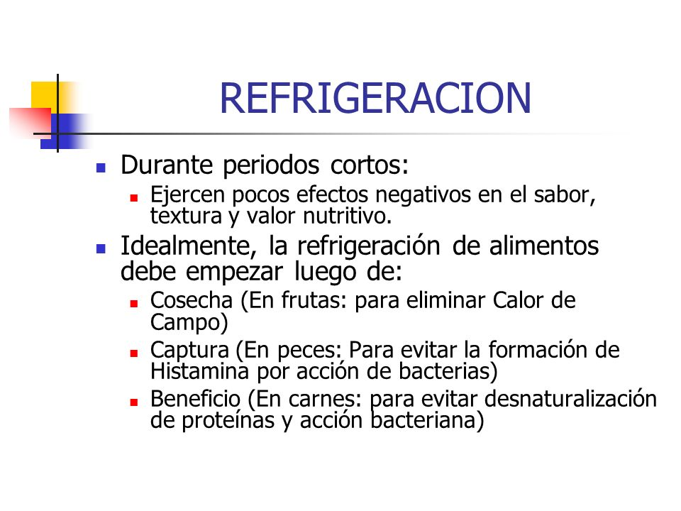 Producto Temperatura ( o C) Humedad Relativa (%) Semanas de Almacenamiento Frutos: Piña Plátano Guayaba Naranja Mango Papaya Fresa Pimentón Tomate Hortaliças: Lechuga Cebolla Zanahoria Repollo 7-8 13 8-10 5-6 8-10 0-1 8 0-1 85-90 90-95 85-90 95 70-75 95 92-95 1-2 3-4 2-5 5-6 2-4 2-3 4-5 2 40 20 12 Condiciones ideales de almacenamiento de algunas frutas y hortalizas