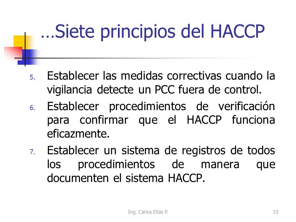Siete principios del HACCP 1. Realizar un análisis de peligros, identificarlos y establecer las medidas de control. 2. Determinar los puntos críticos