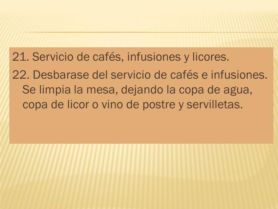 21. Servicio de cafés, infusiones y licores. 22. Desbarase del servicio de cafés e infusiones. Se limpia la mesa, dejando la copa de agua, copa de lic