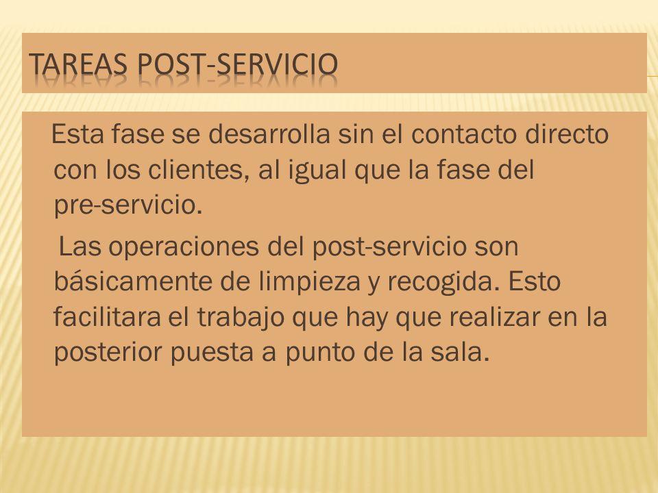 Esta fase se desarrolla sin el contacto directo con los clientes, al igual que la fase del pre-servicio. Las operaciones del post-servicio son básicam