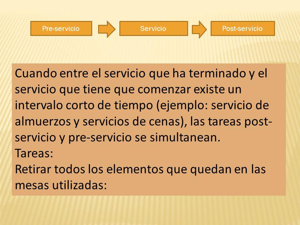 Pre-servicioServicioPost-servicio Cuando entre el servicio que ha terminado y el servicio que tiene que comenzar existe un intervalo corto de tiempo (