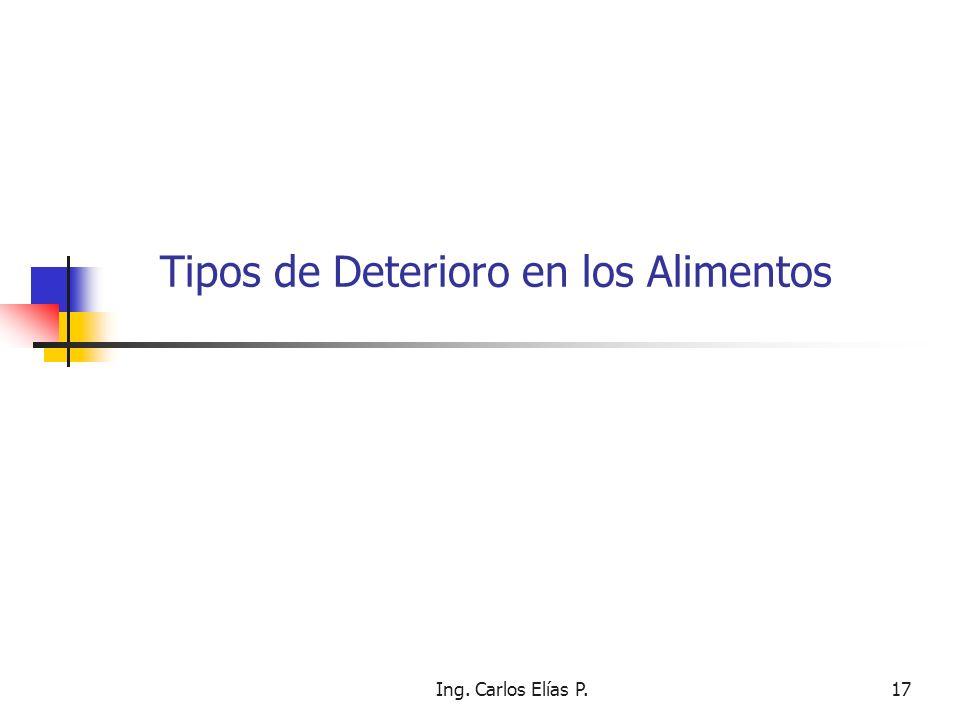 Ing. Carlos Elías P.17 Tipos de Deterioro en los Alimentos