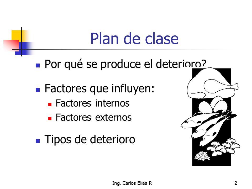 Ing. Carlos Elías P.2 Plan de clase Por qué se produce el deterioro? Factores que influyen: Factores internos Factores externos Tipos de deterioro