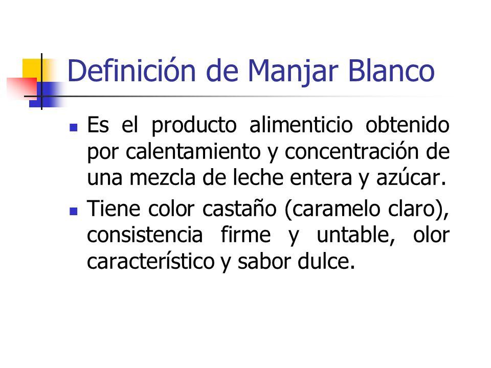 Definición de Manjar Blanco Es el producto alimenticio obtenido por calentamiento y concentración de una mezcla de leche entera y azúcar. Tiene color