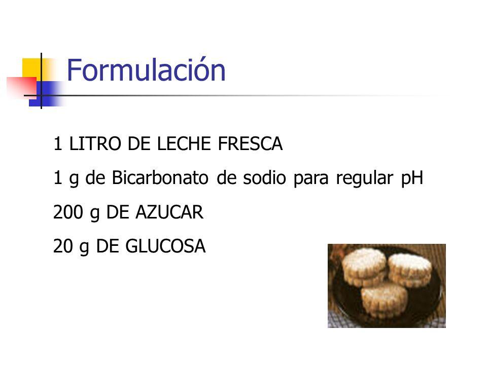 Formulación 1 LITRO DE LECHE FRESCA 1 g de Bicarbonato de sodio para regular pH 200 g DE AZUCAR 20 g DE GLUCOSA
