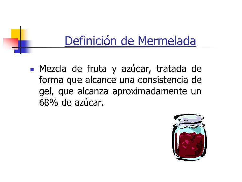 Definición de Mermelada Mezcla de fruta y azúcar, tratada de forma que alcance una consistencia de gel, que alcanza aproximadamente un 68% de azúcar.