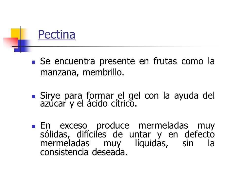 Pectina Se encuentra presente en frutas como la manzana, membrillo. Sirve para formar el gel con la ayuda del azúcar y el ácido cítrico. En exceso pro