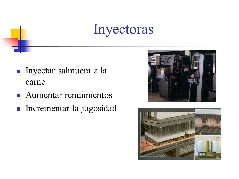 Inyectoras Inyectar salmuera a la carne Aumentar rendimientos Incrementar la jugosidad