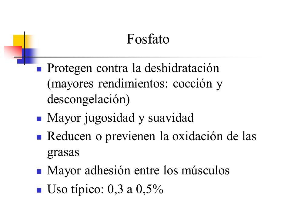 Fosfato Protegen contra la deshidratación (mayores rendimientos: cocción y descongelación) Mayor jugosidad y suavidad Reducen o previenen la oxidación