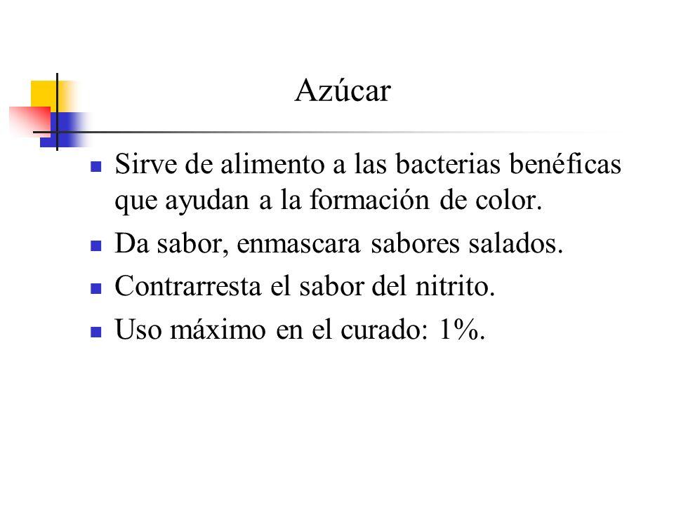 Azúcar Sirve de alimento a las bacterias benéficas que ayudan a la formación de color. Da sabor, enmascara sabores salados. Contrarresta el sabor del